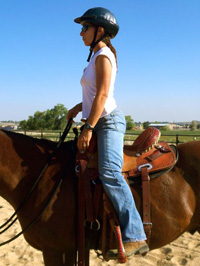 With the lower leg in the correct position it becomes easy to stand up and forward in the saddle. In this standing position the line down the body travels from the ear, shoulder, hip, and through the ball of the foot.